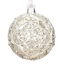 2012 Lunt Jeweled Snowflake Ball Silver Christmas Ornament
