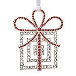 Lunt Crystal Package Silver Christmas Ornament