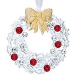 Lunt Crystal Wreath Silver Christmas Ornament