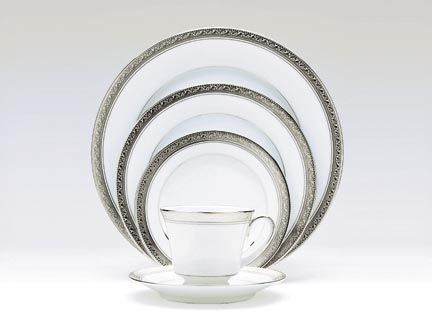 Noritake Crestwood Platinum Dinnerware 5-pc Place Setting  sc 1 st  Silver Superstore & Crestwood Platinum formal china dinnerware by Noritake China