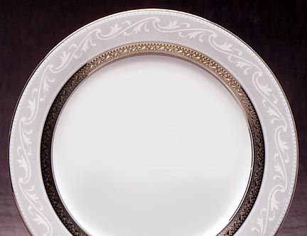 Noritake Crestwood Platinum Dinnerware Accent Plate & Crestwood Platinum formal china dinnerware by Noritake China