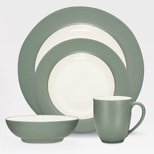 Noritake Colorwave Green Dinnerware 4pc Place Setting Rim & Colorwave Green stoneware at discount by Noritake - SilverSuperstore.com