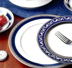 Noritake Crestwood Cobalt Platinum Dinnerware  sc 1 st  Silver Superstore & Crestwood Cobalt Platinum china dinnerware by Noritake