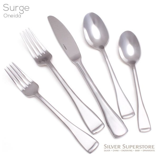 oneida surge stainless steel flatware 5pc place setting - Stainless Steel Flatware