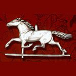 Hand and Hammer Horse Weathervane Sterling Silver Christmas Ornament