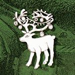 Hand and Hammer Decorated Reindeer Sterling Silver Christmas Ornament