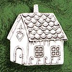 Hand and Hammer Gingerbread House Sterling Silver Christmas Ornament