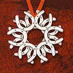 ../../hand and Hammer Horseshoe Wreath Sterling Silver Christmas Ornament