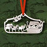 Hand and Hammer Noah's Ark Sterling Silver Christmas Ornament