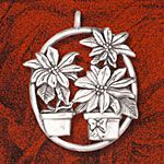 Hand and Hammer Poinsettias Sterling Silver Christmas Ornament