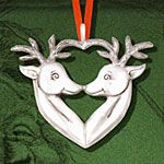 Hand and Hammer Reindeers Heart Sterling Silver Christmas Ornament