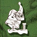 Hand and Hammer Santa's Dilemma Sterling Silver Christmas Ornament