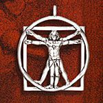 Hand and Hammer Vitruvian Man Sterling Silver Christmas Ornament
