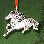 Hand and Hammer Xanthus Horse Sterling Silver Christmas Ornament