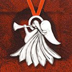 Hand & Hammer Trumpet Angel Sterling Silver Christmas Ornament