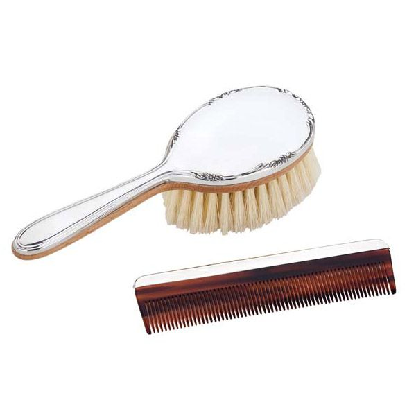 Reed And Barton Georgia Girls Pewter Brush And Comb Set