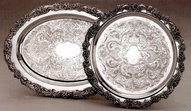 Burgundy Silverplated Serving Trays Reed And Barton