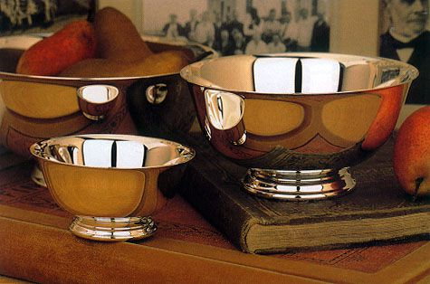 Reed and Barton Paul Revere bowls on a table