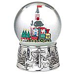 Reed and Barton North Pole Silver Musical Snow Globe