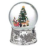 Reed and Barton Santa Sleigh Silver Musical Snow Globe