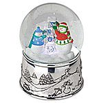 Reed and Barton Snow Cubes Silver Musical Snow Globe