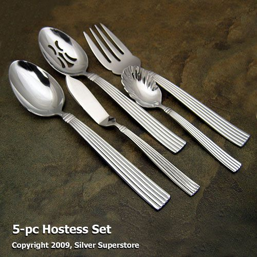 Reed And Barton Crescendo Ii Stainless 5 Pc Hostess Set