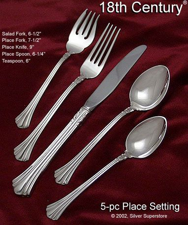 Reed And Barton 18th Century Sterling Silver Flatware 5 Pc