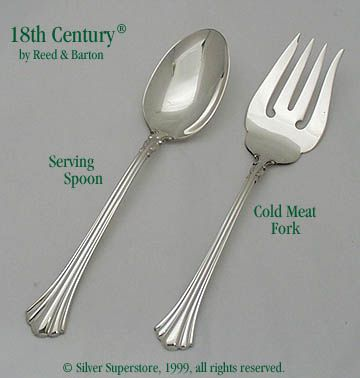 Reed And Barton 18th Century Sterling Silver Cold Meat Fork