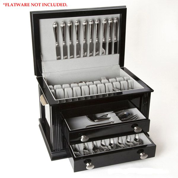 ricci black lacquered wood flatware storage chest