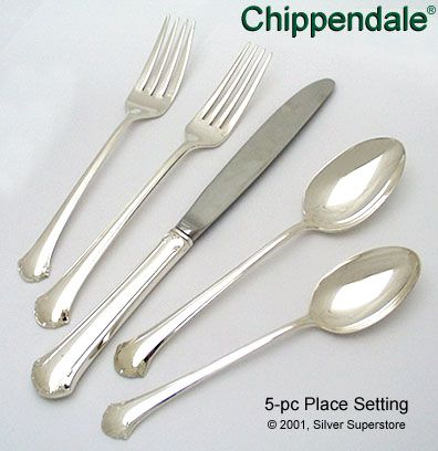 towle chippendale sterling silver flatware 5pc - Sterling Silver Flatware