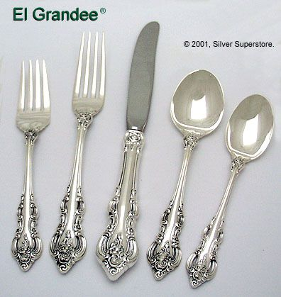 towle el grande sterling silver flatware 5pc set - Sterling Silver Flatware