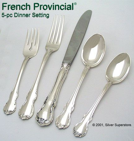 Towle Silversmiths French Provinicial Sterling Silver Flatware 5-pc Dinner set  sc 1 st  Silver Superstore & French Provincial by Towle Silversmiths - New Sterling Silver Flatware
