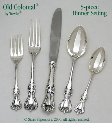 Towle Silversmiths Old Colonial Sterling Silver Flatware 5-pc Dinner Set  sc 1 st  Silver Superstore & Old Colonial by Towle Silversmiths - Sterling Silver Flatware