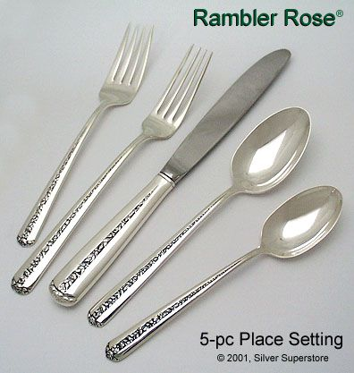 Towle Silversmiths Rambler Rose Sterling Silver Flatware 5-pc  sc 1 st  Silver Superstore & Rambler Rose by Towle Silversmiths - Sterling Silver Flatware
