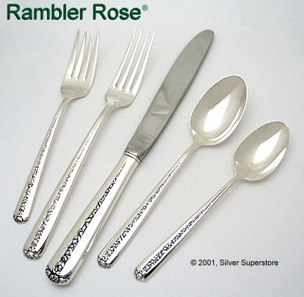 Towle Silversmiths Rambler Rose Sterling Silver 5-pc Dinner set  sc 1 st  Silver Superstore & Rambler Rose by Towle Silversmiths - Sterling Silver Flatware