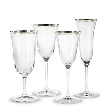 Classic banded platinum crystal stemware by vera wang - Vera wang goblets ...