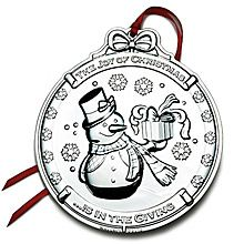 2012 Wallace Snowman 1st Edition Silverplate Christmas Ornament