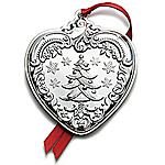 2012 Wallace Grande Baroque Heart Sterling Silver Christmas Ornament