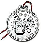 2012 Wallace Snowman Silver Christmas Ornament