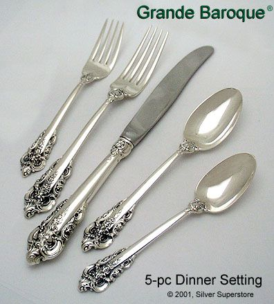 wallace silversmiths grande baroque sterling silver flatware 5 pc dinner set