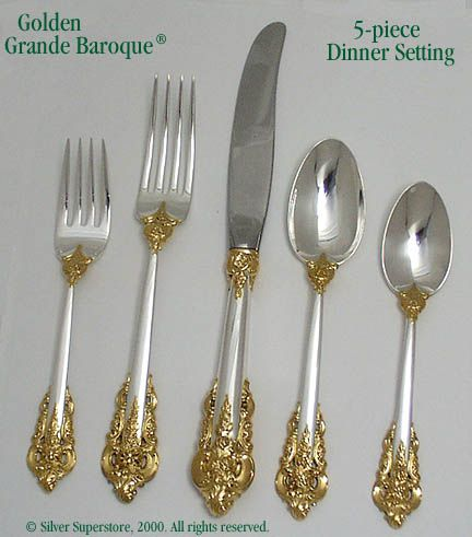 Wallace Gold Grande Baroque Sterling Silver Serving Spoon