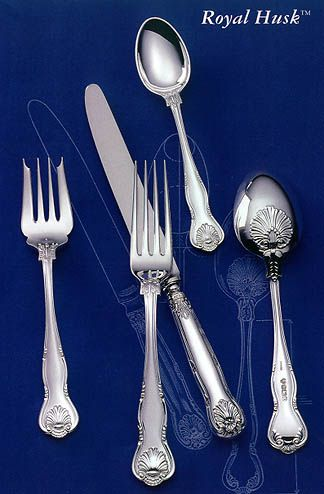 Wallace Silversmiths Royal Husk Sterling Silver Flatware 5-pc Dinner Set & Royal Husk by Wallace/CJ Vander - Sterling Silver Flatware