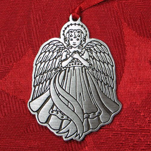 Woodbury angel pewter christmas ornament silver