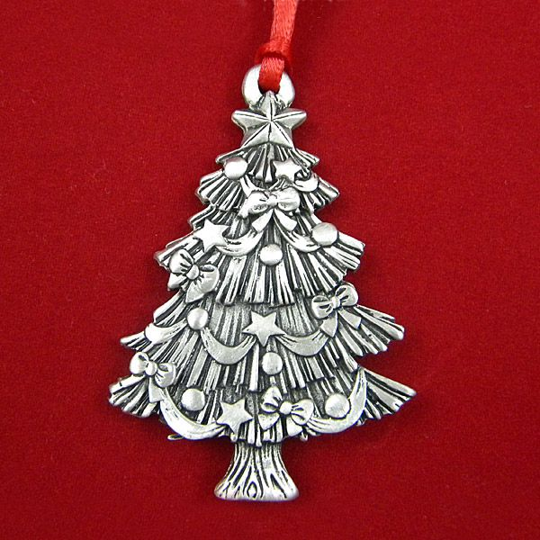 Woodbury sculptured christmas tree pewter ornament