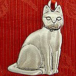 Woodbury Pewter Sculptured Cat Christmas Ornament