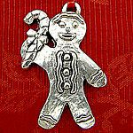Woodbury Pewter Sculptured Gingerbread Man Christmas Ornament