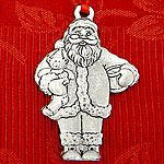 Woodbury Pewter Sculptured Santa Christmas Ornament