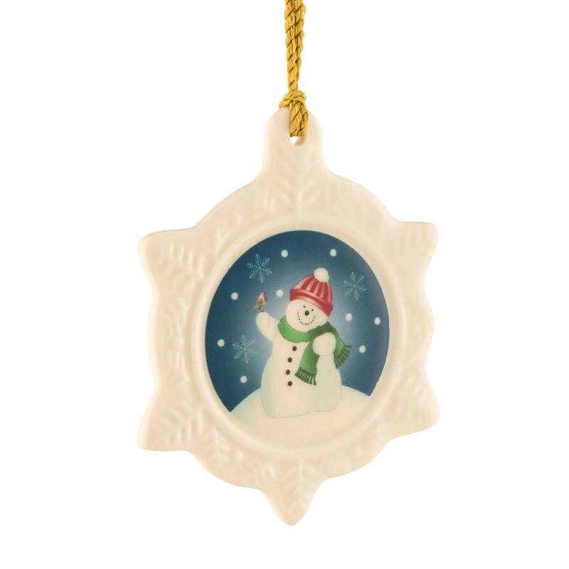2018 Snowman Snowflake Christmas Ornament | Belleek Christmas Tree Decoration | Snowman Snowflake Ornament