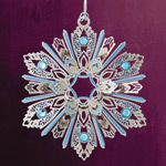 ChemArt Jeweled Snowflake Brass Christmas Ornament