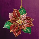 ChemArt Poinsettia Flower Brass Christmas Ornament
